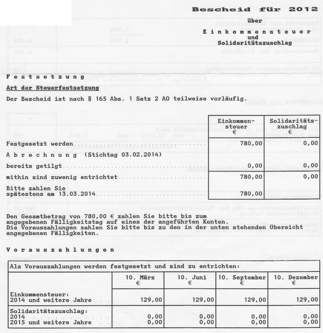 Bescheid über Einkommensteuer