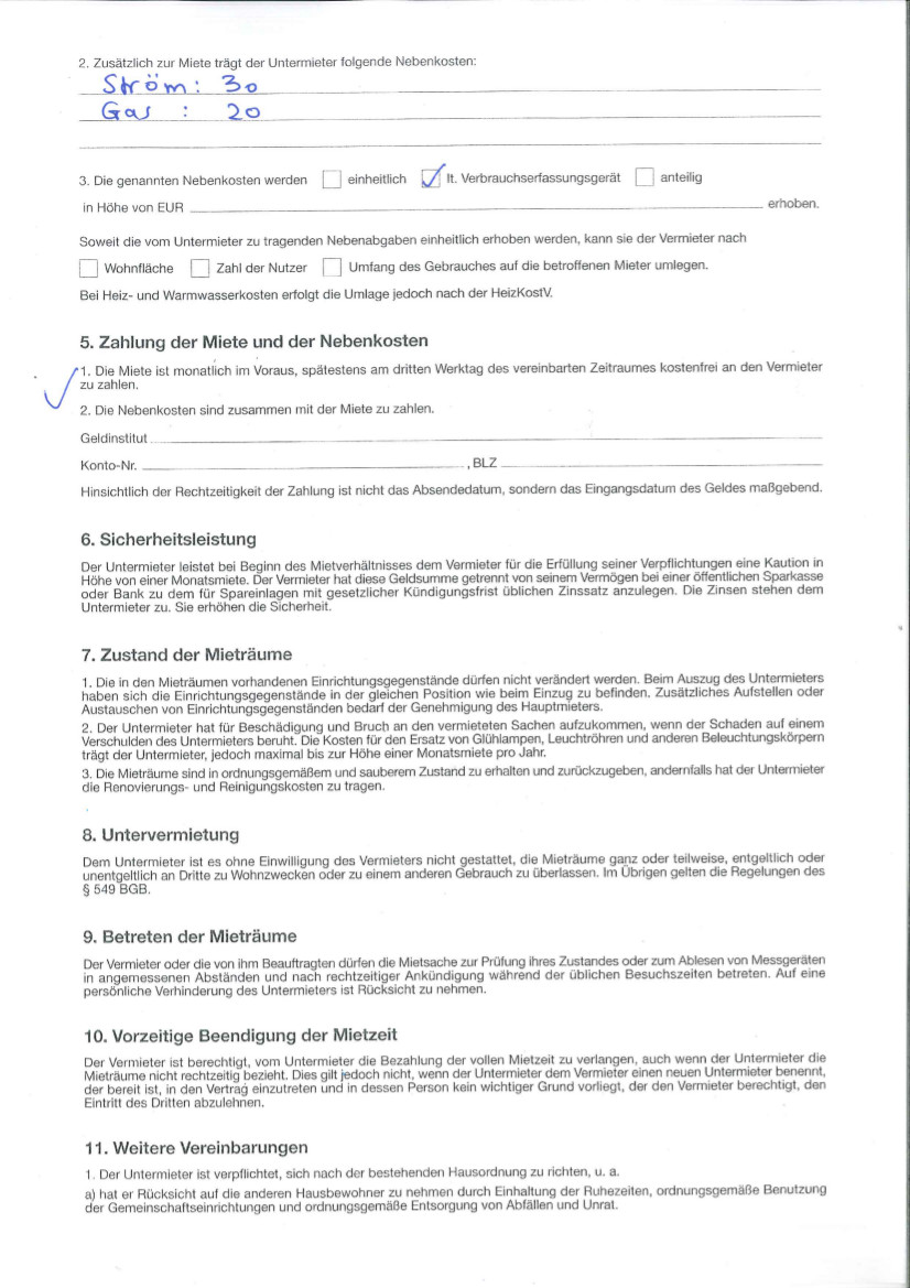 Prepare a sublease contract for a student WG - Life in Germany ...
