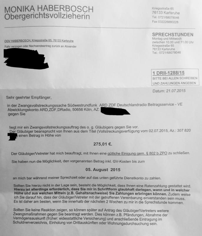Refusing to pay TV license fees (Rundfunkbeitrag) - Page 15 ...