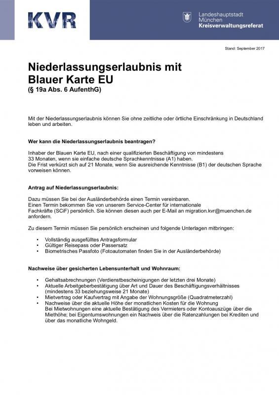 Niederlassungserlaubnis, Blaue Karte § 19a, Abs. 6 AufenthG, September 2017.jpg